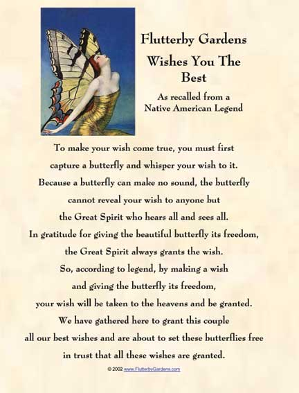 FlutterbyGardens.com Native American Wedding Butterfly Legend Certificate